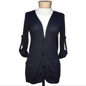 The Limited Rolled Sleeve Button Down Cardigan XS